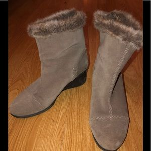 AEROSOLES Taupe Women Suede Boots Fur Lined Wedge